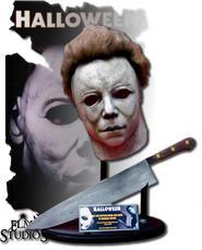 Michael Myers mask och kniv.